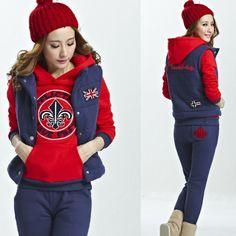 Winter 2014 Women Hoody Knitting Pullover Tracksuits Cartoon Activewear Sweatshirt Casual Hoodies Fitness Sportswear Suits 3pcs