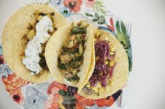 three unexpected delicious kinds of veggie tacos.