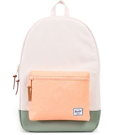 This natural colored backpack with mango orange accents comes equip with everything you need to stay organized, like a ample storage space and a padded laptop sleeve.