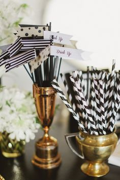Chic black  white reception accessories. #blacktiewedding