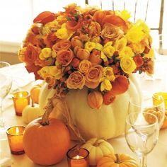 Pumpkin Flower Arrangement Pumpkin Vase