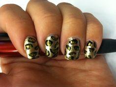 Leopard Nails    Paint w OPI  Gold  Paint Smal BlackSpots  Gold Glitter inside each black spot