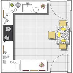 Plano de la cocina: En forma de U y con mini office integrado
