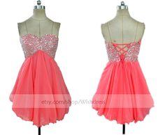 Handmade Sequins Watermelon Homecoming Dress/ Cocktail Dress /Coral Prom Dress/ Short Homecoming Dress/ Short Prom Dress/ Formal Dress by Wishdress on Etsy https://www.etsy.com/listing/200548943/handmade-sequins-watermelon-homecoming