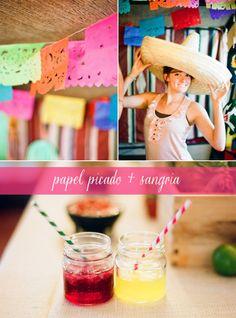 Fiesta Mexicana con Guirnaldas, sombreros y mojitos.