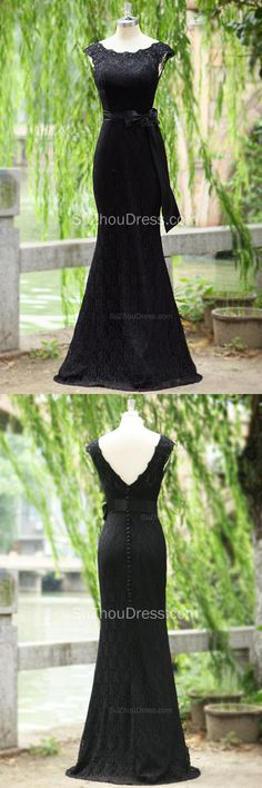 2015 Balck Lace Prom Dresses Scoop Sash Short Sleeve Covered Button Sweep Train Mermaid Evening Gowns