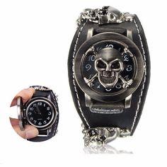 Men Punk Skull Skeleton Leather Band Unisex Bracelet Wrist Watch