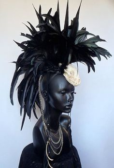 MADE TO ORDER:  Midsize Animal Skull Black Feather Mohawk