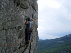"""Moving out to the arête on """"Edge of a Dream"""".beautiful NC granite."""