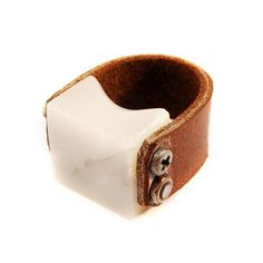 Marble and Leather Ring - I'd wear this in a minute!