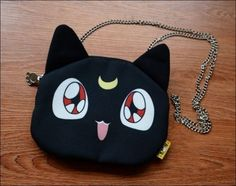Cute Anime Sailor Moon Luna Cat Cosplay Chain Shoulder Bag Purse Wallet Limited
