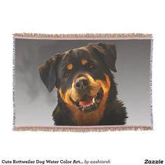 #Cute #Rottweiler #Dog Water Color #Art #Portrait #Throw #Blanket #animal #rottie #pet