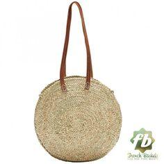 Alrededor de cesta de mimbre largo cuero manejar: francés cesta, cesta marroquí, bolso de la paja, paja de la cesta de la compra, bolso de la playa, Francés