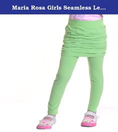 Maria Rosa Girls Seamless Legging with Skirt #937 Green. These leggings are made of soft, durable fabrics with very good stretchability. The puffy/ruffly skirt is attached to the leggings, making it easy for toddlers to pull up and down by herself while potty training. Let your little princess be cute and fashionable while staying active. These seamless leggings come in 6 bright beautiful colors and fit girls from 3/4 to 7/8 years old. It's super easy to dress up or dress down and…