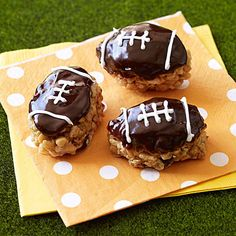 No tailgate or pigskin party is complete with out our End Zone PB Chocolate Footballs! #dessert #SuperBowl