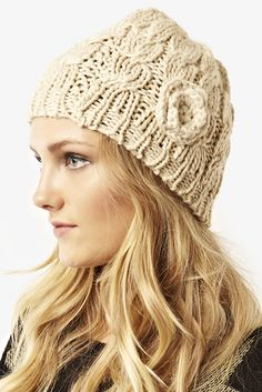 Stone Cable Knit Beeni Hat £5