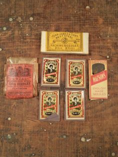 7 antique packages of sewing needles packing needles by outdated, $10.99
