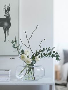 Vase glass simple flowers eucalyptus branches white modern minimalist deco size Check more at. Vase glass simple flowers eucalyptus branches white modern minimalist deco green interior design and living. Spring Flower Arrangements, Flower Vases, Spring Flowers, Floral Arrangements, Bud Vases, Vases Decor, Plant Decor, Table Centerpieces For Home, Deco Champetre