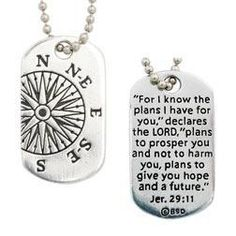 Compass Dog Tag Necklace - For I Know The Plans I Have For You. Let God be your compass through life. The detailed, off center compass is paired with the Jeremiah verse engraved on the back of t Religious Gifts, Religious Jewelry, Men Necklace, Dog Tag Necklace, St Michael Medal, Compass Design, Graduation Jewelry, I Know The Plans, Grad Gifts