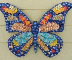 Bottle Cap Art – Butterfly Bottle Cap Art Butterfly recycle bottle caps The post Bottle Cap Art – Butterfly appeared first on Do It Yourself Fashion.This Bottle Cap Art - Butterfly is just one of the custom, handmade pieces you'll find in our oth Bottle Top Art, Bottle Top Crafts, Bottle Cap Projects, Plastic Bottle Crafts, Diy Bottle, Plastic Bottles, Beer Cap Art, Beer Bottle Caps, Beer Caps