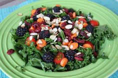 Lemony Kale Salad  2 cups Kale  Juice from 1/2 Lemon  1 tsp. Olive Oil  Salt and Pepper  Massage ingredients into kale until coated. Top with desired salad toppings. I did:  Blackberries  Tomatoes  Almonds  Carrots  Cranberries