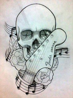 skull with crossed guitars tattoo - Google Search