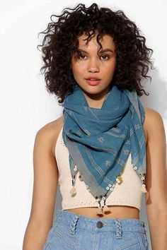 Striped scarf finished with allover textured-stitch detailing, from the experts at AISH. Super soft n' lightweight! Clothes For Sale, Clothes For Women, Striped Scarves, Square Scarf, Body Types, Boho Chic, Urban Outfitters, Personal Style, My Style