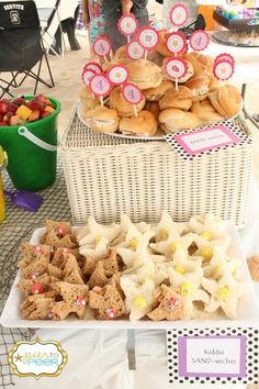 Beach themed party, sammiches and fruit in bucket