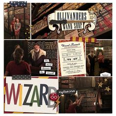 Ollivander's Wand Shop / Harry Potter / Wizard Digital project life page using Project Mouse (Wizarding) by Britt-ish Designs and Sahlin Studio Pocket Page Scrapbooking, Scrapbook Pages, Digital Scrapbooking, Scrapbooking Ideas, Harry Potter Scrapbook, Digital Project Life, Harry Potter Wizard, Life Page, Scrapbook Designs