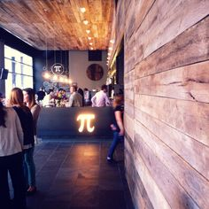 Rustic barn wood walls and ceiling | Pi Pizza, St Louis