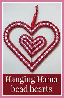 Hanging spinning Hama bead heart decoration for Valentine's Day Hama Beads Patterns, Beading Patterns, Valentine Day Crafts, Love Valentines, Perler Beads, Boyfriend Crafts, Melting Beads, Hanging Hearts, Heart Decorations