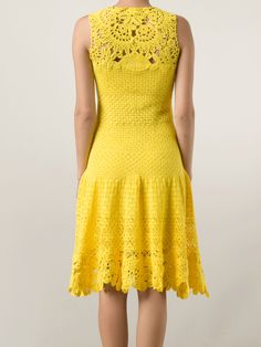 OSCAR DE LA RENTA Drop Waist Crochet Dress