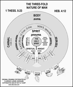 "Dr. Clarence Larkin uses three circles (Rightly Dividing The Word) In the outer circle the 'Body' is shown as touching the Material world through the five senses of 'Sight,' 'Smell,' 'Hearing,' 'Taste' and 'Touch.' The Gates to the 'Soul' are 'Imagination,' 'Conscience,' 'Memory,' 'Reason' and the 'Affections.' The ""Spirit"" receives impressions of outward and material things through the soul. The spiritual faculties of the 'Spirit' are 'Faith,' 'Hope,' 'Reverence,' 'Prayer' and 'Worship.'"