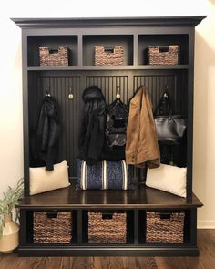 THE DUBLIN BLACK Mudroom Lockers bench storage furniture cubbies coat rack hall tree Hallway Storage, Cubby Storage, Bench With Storage, Coat Storage, Dublin, Cubbies, The Doors, Hall Tree Bench, Hall Tree Storage Bench