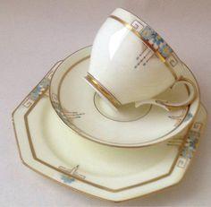 Vintage English China Tea Set Tea Cup Trio Art Deco.