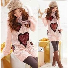 heart knitted sweater