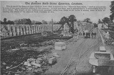 Stone blocks by side of railway sidings at Bath Stone Quarry, Corsham, Wiltshire, early 20 cen (WSHC ref P13442)