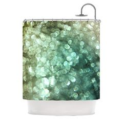 Kess InHouse Debbra Obertanec Teal Sparkle Green Glitter Shower Curtain 69 by 70Inch >>> See this great product.