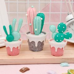 DIY Felt Succulent Kit - You don't need a green thumb to make these cute cacti! Our DIY Felt Succulent Kit comes with ever - Kids Crafts, Felt Crafts Diy, Crafts For Teens To Make, Felt Diy, Handmade Felt, Diy For Girls, Handmade Crafts, Craft Projects, Easy Crafts
