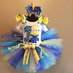 Blue and Yellow Minion Inspired Birthday Girl Tutu For Girls