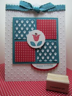 Bright BlossomsMy favorite part of this card is how the sentiment peeks out from the bottom on a scalloped circle.