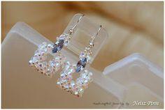 Wire Jewelry Earrings, Seed Bead Earrings, Crystal Earrings, Beaded Bracelets, Jewellery, Beaded Wedding Jewelry, Jewelry Crafts, Handmade Jewelry, Beaded Earrings Patterns