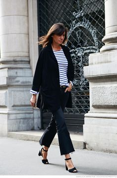 fear not the stripes! an oversize black coat, ankle cropped flares, ankle strap sandal and a striped shirt.