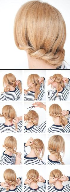 Make updos yourself: 58 instructions for effective hairstyles Great Hairstyles, Curled Hairstyles, Girl Hairstyles, Wedding Hairstyles, Medium Hair Styles, Short Hair Styles, Loose Updo, Hair Dos, Hair Hacks