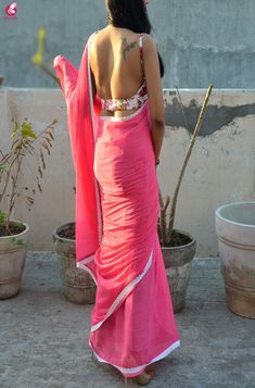 Buy Pink Printed Chiffon Lace Saree Online in India Dance Outfits, Dance Dresses, Girls Dresses, Saree Blouse Patterns, Saree Blouse Designs, Lace Saree, Pink Saree, Drape Sarees, Stylish Sarees