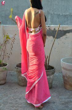 Buy Pink Printed Chiffon Lace Saree Online in India Saree Blouse Patterns, Saree Blouse Designs, Lace Saree, Saree Backless, Chiffon, Simple Sarees, Stylish Sarees, Indian Beauty Saree, Saree Styles