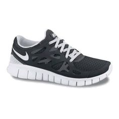 Women's Nike Free Run+ 2 Running Shoe - White/Black