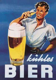 Bier ad (1950s) by Herbert Leupin - - - Die Biere der Braumeister schmecken gekühlt am besten: 6 edle Klassiker deutscher Braukunst vereint die Braumeister Selektion in einem Sixpack mit Booklet gibt es auch hier: http://braumeister-selektion.de/ ... #Biere #Braukunst #Brauereien