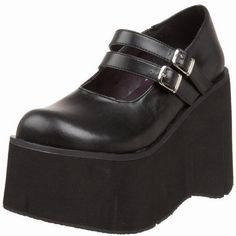 """Demonia Kera Mary Janes Black faux leather Demonia Kera-08 Mary Jane w/a 4 1/2"""" platform, goth Lolita double strap. These are extremely, light and comfortable. Worn once. Size Runs a little big. Demonia  Shoes Wedges"""