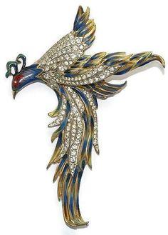 Sold - Coro Craft Sterling Enamel Rhinestone Soaring Bird Pin Brooch 1940's
